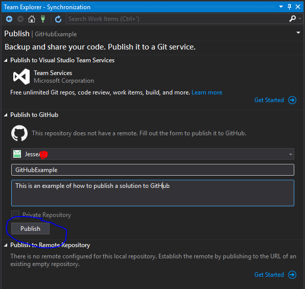 Publish existing  Net Application to GitHub: Visual Studio